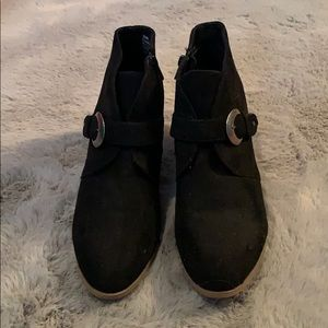 Maurices black buckle booties